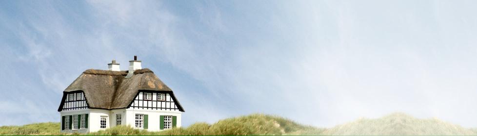 Ferienhaus auf einer Düne am Strand